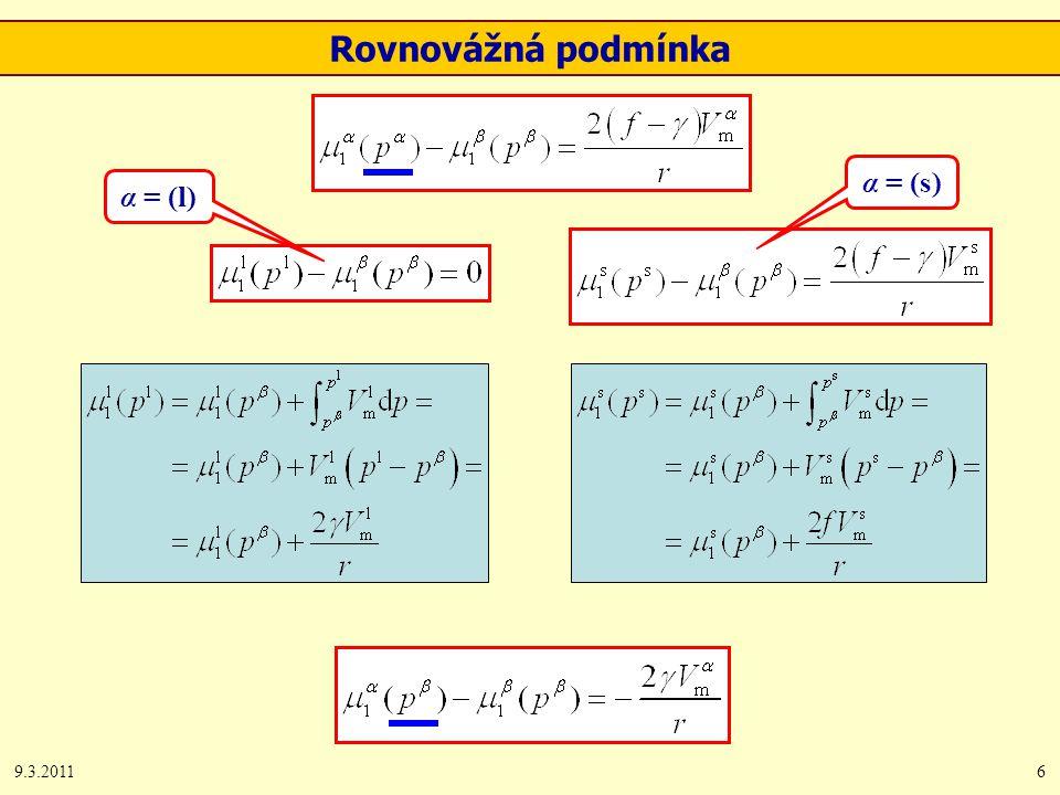 9.3.20116 Rovnovážná podmínka α = (l) α = (s)