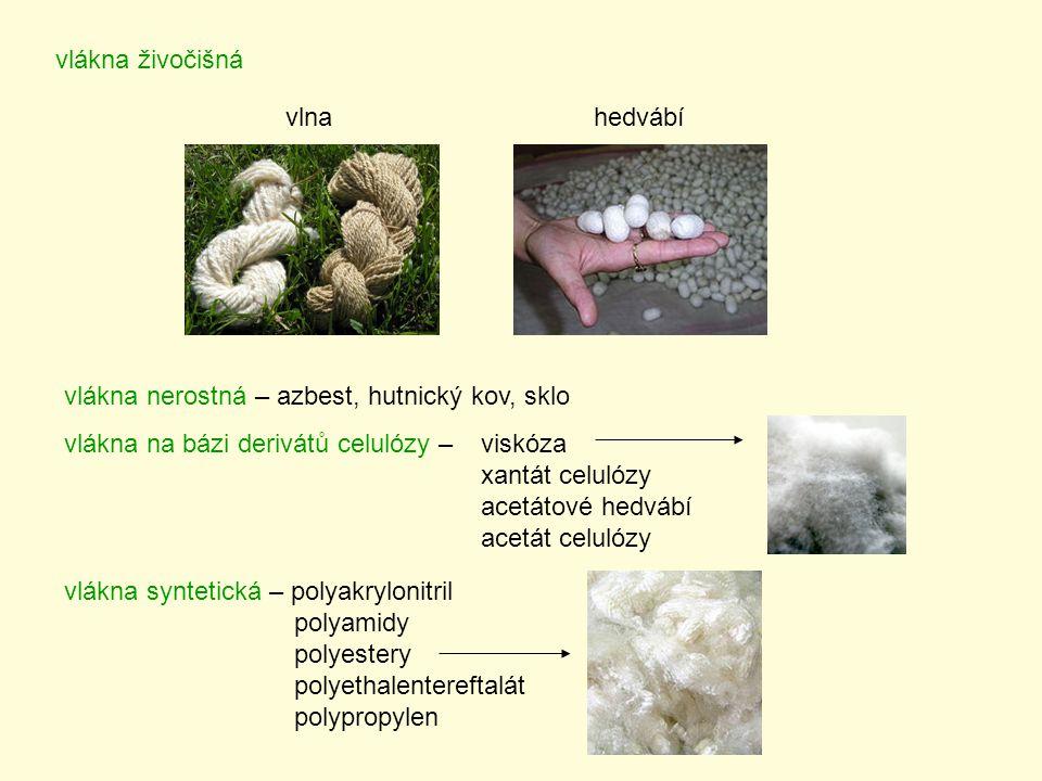 vlákna živočišná vlnahedvábí vlákna nerostná – azbest, hutnický kov, sklo vlákna na bázi derivátů celulózy – viskóza xantát celulózy acetátové hedvábí acetát celulózy vlákna syntetická – polyakrylonitril polyamidy polyestery polyethalentereftalát polypropylen