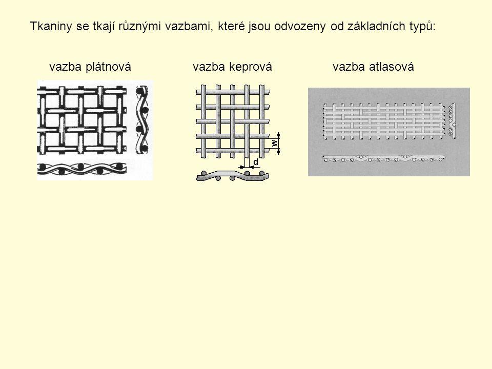 Tkaniny se tkají různými vazbami, které jsou odvozeny od základních typů: vazba plátnovávazba keprovávazba atlasová