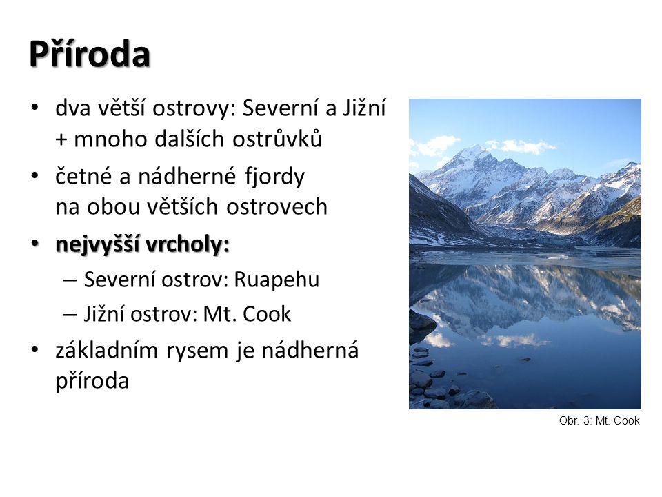 Příroda dva větší ostrovy: Severní a Jižní + mnoho dalších ostrůvků četné a nádherné fjordy na obou větších ostrovech nejvyšší vrcholy: nejvyšší vrcholy: – Severní ostrov: Ruapehu – Jižní ostrov: Mt.