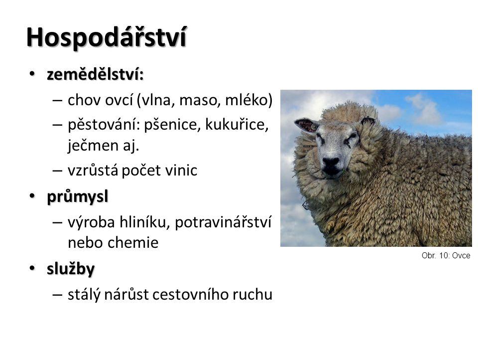 Hospodářství zemědělství: zemědělství: – chov ovcí (vlna, maso, mléko) – pěstování: pšenice, kukuřice, ječmen aj.