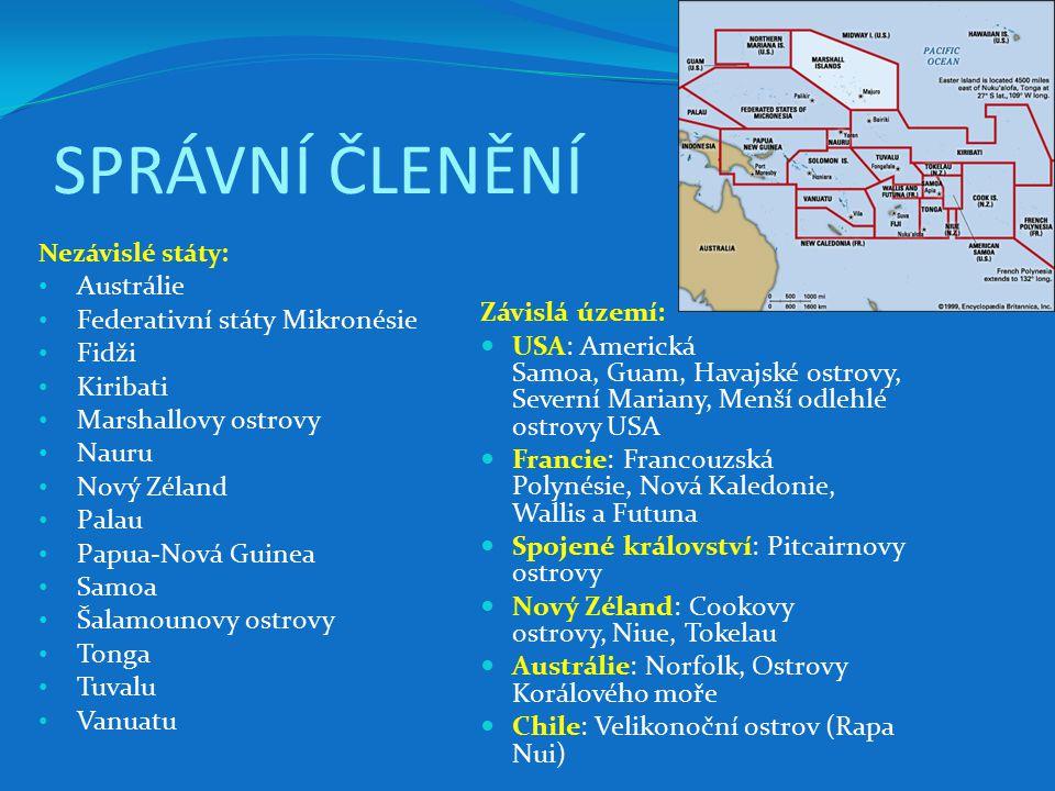 Stát / Závislé územíHlavní městokódRozloha [km²] Počet obyvatel (rok 2008) Hustota zalidnění [ob./km²] Americká SamoaFagatogo (Pago Pago)AS19964 827326 AustrálieCanberraAU7 686 85021 007 3103 Cookovy ostrovyAvaruaCK23712 27152 FidžiSuvaFJ18 270931 74151 Francouzská PolynésiePapeetePF4 167283 01968 GuamHagåtñaGU541175 877325 KiribatiBairiki (Jižní Tarawa)KI811110 356136 Marshallovy ostrovyMajuroMH18163 174349 MikronésiePalikirFM702107 665153 Nauru není stanoveno (Yaren/Meneng) NR2113 770656 NiueAlofiNU2601 4446 NorfolkKingstonNF352 12861 Nová KaledonieNouméaNC19 060224 82412 Nový ZélandWellingtonNZ268 6804 173 46016 PalauMelekeokPW45821 09346 Papua-Nová GuineaPort MoresbyPG462 8405 931 76913 Pitcairnovy ostrovyAdamstownPN47481 SamoaApiaWS2 944217 08374 Severní MarianySaipanMP47786 616182 Šalamounovy ostrovyHoniaraSB28 450581 31820 Tokelaukaždý atol má své vlastníTK101 433143 TongaNuku alofaTO748119 009159 TuvaluFunafutiTV2612 177468 VanuatuPort VilaVU12 200215 44618 Wallis a FutunaMata-UtuWF27415 23756 Celkem8 508 48834 373 0954