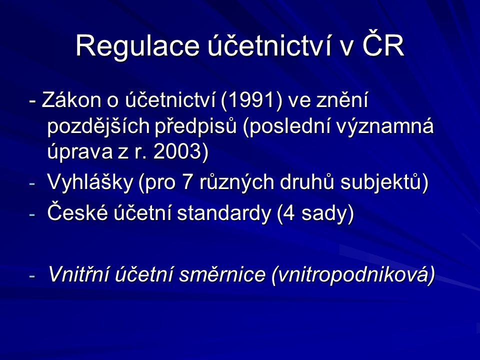 Regulace účetnictví v ČR - Zákon o účetnictví (1991) ve znění pozdějších předpisů (poslední významná úprava z r. 2003) - Vyhlášky (pro 7 různých druhů