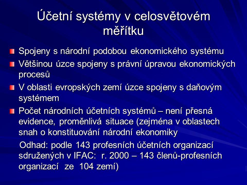 Účetní systémy v celosvětovém měřítku Spojeny s národní podobou ekonomického systému Většinou úzce spojeny s právní úpravou ekonomických procesů V obl