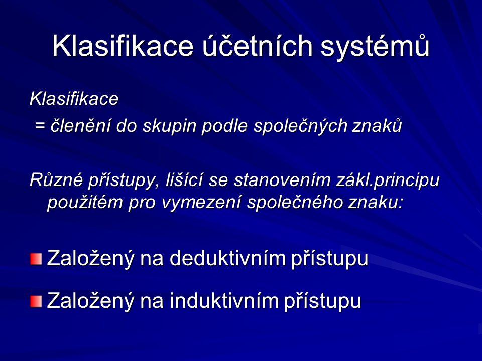 Klasifikace účetních systémů založená na deduktivním přístupu : -stanovuje tato kritéria pro členění úč.systémů: Makroekonomický koncept – při tvorbě účetní soustavy se vychází z národohos-podářské politiky státu (výchozí teze: podnik vyvíjí svou činnost v podmínkách vymeze-ných státem a své cíle jim musí přizpůsobit) Mikroekonomický koncept – vychází z teze, že účetnictví je součást podnikohospodářské sféry, ekonomická prosperita země je v rukou soukromých firem – účetní systém je proto koncipován s ohledem na potřeby podniku a zajištění jeho ekonomické stability