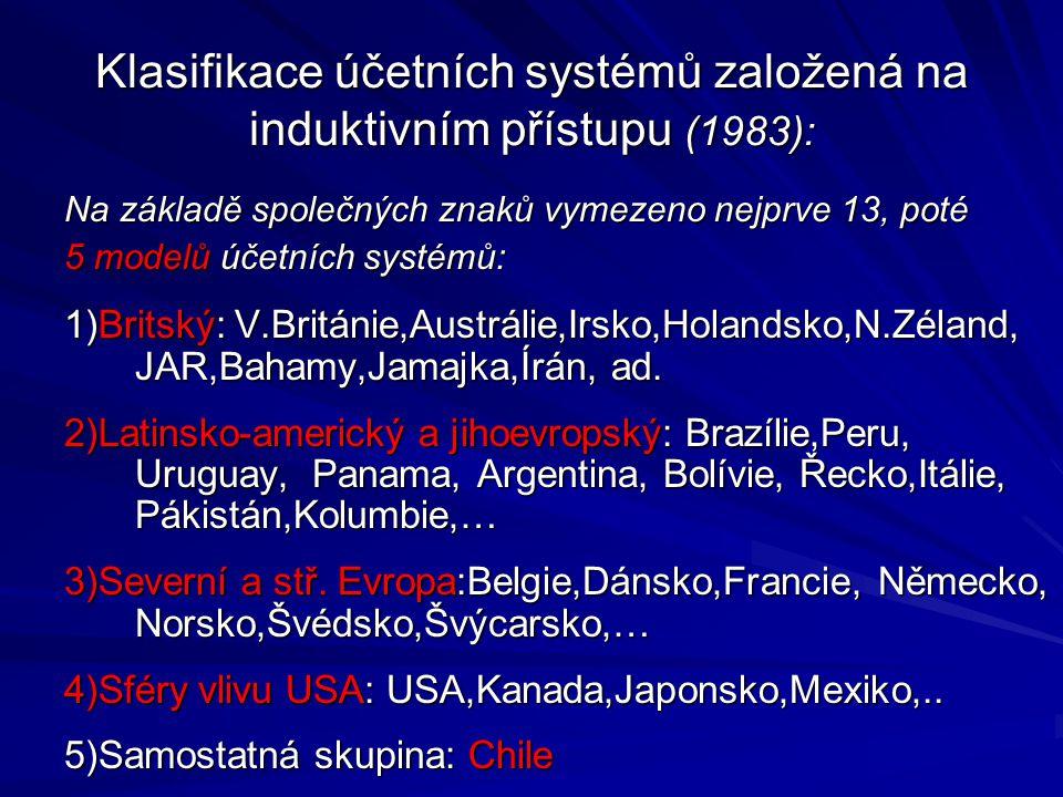 Klasifikace účetních systémů založená na induktivním přístupu (1983): Na základě společných znaků vymezeno nejprve 13, poté 5 modelů účetních systémů: 1)Britský: V.Británie,Austrálie,Irsko,Holandsko,N.Zéland, JAR,Bahamy,Jamajka,Írán, ad.