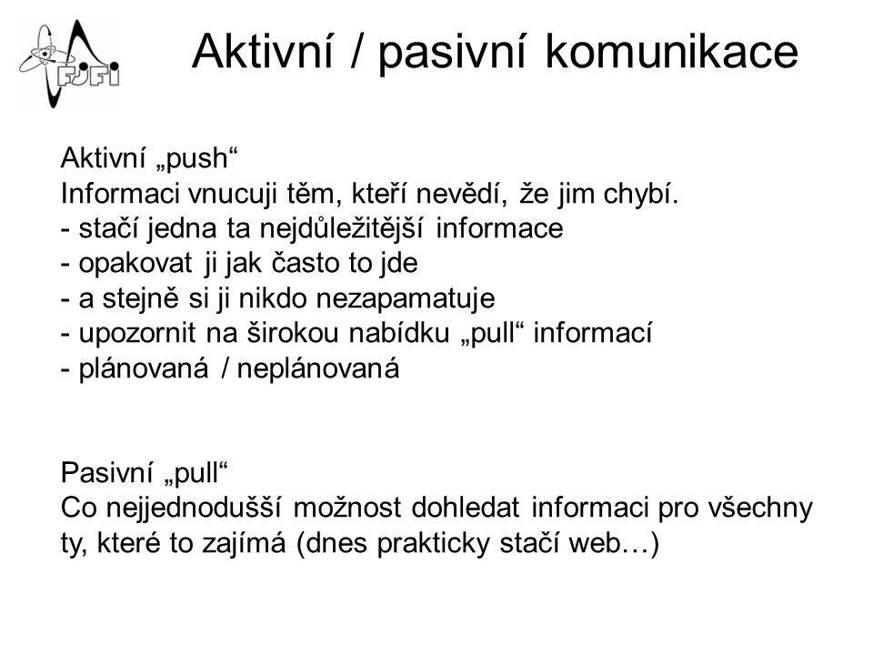 """Aktivní / pasivní komunikace Aktivní """"push Informaci vnucuji těm, kteří nevědí, že jim chybí."""