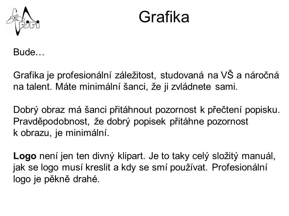 Grafika Bude… Grafika je profesionální záležitost, studovaná na VŠ a náročná na talent.