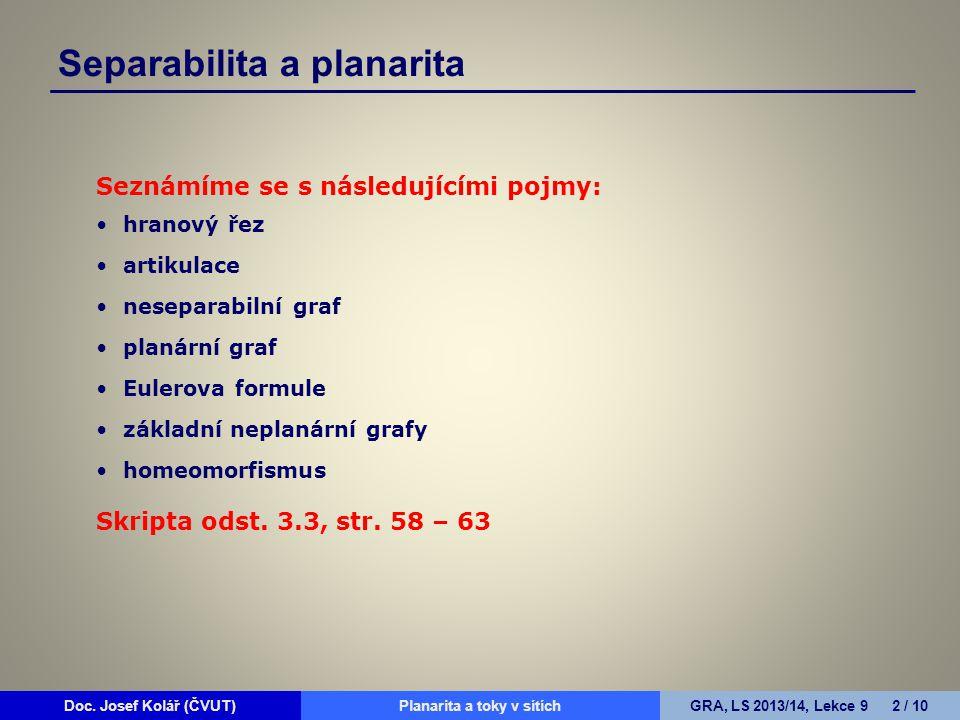 Doc. Josef Kolář (ČVUT)Prohledávání grafůGRA, LS 2010/11, Lekce 4 2 / 15Doc. Josef Kolář (ČVUT)Planarita a toky v sítíchGRA, LS 2013/14, Lekce 9 2 / 1