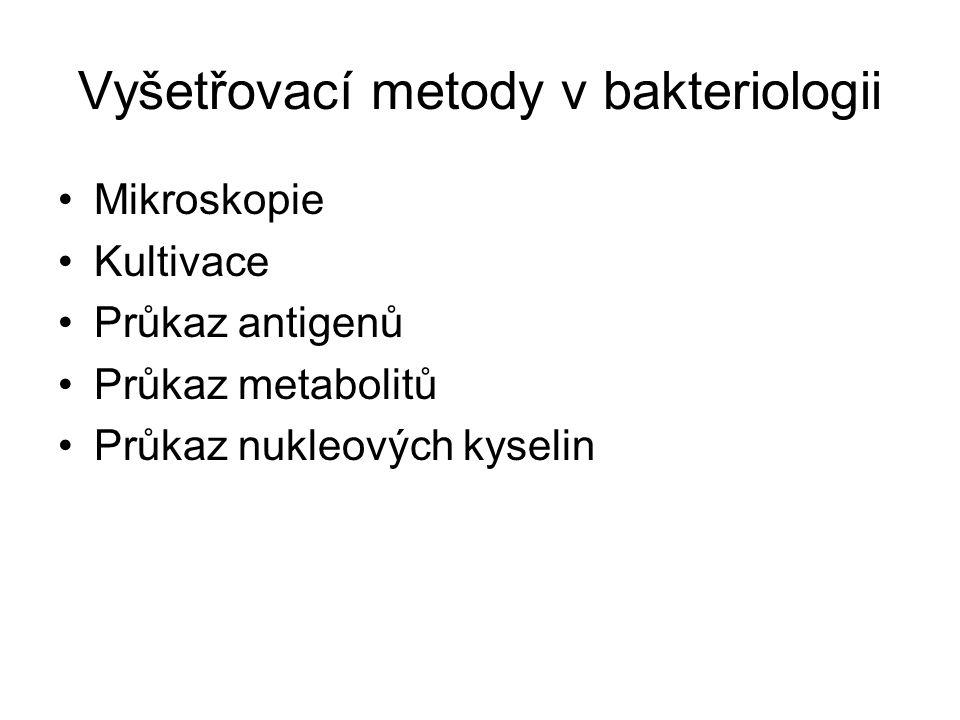 Vyšetřovací metody v bakteriologii Mikroskopie Kultivace Průkaz antigenů Průkaz metabolitů Průkaz nukleových kyselin