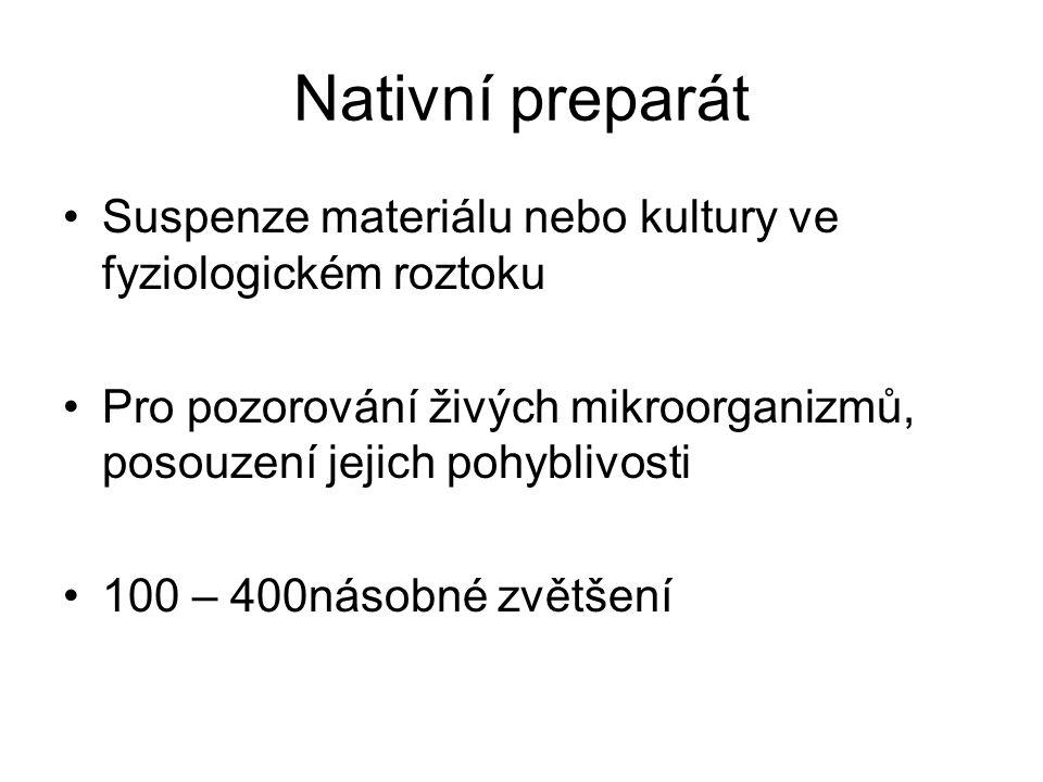 Nativní preparát Suspenze materiálu nebo kultury ve fyziologickém roztoku Pro pozorování živých mikroorganizmů, posouzení jejich pohyblivosti 100 – 400násobné zvětšení