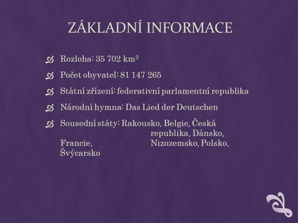 ZÁKLADNÍ INFORMACE  Rozloha: 35 702 km 2  Počet obyvatel: 81 147 265  Státní zřízení: federativní parlamentní republika  Národní hymna: Das Lied d