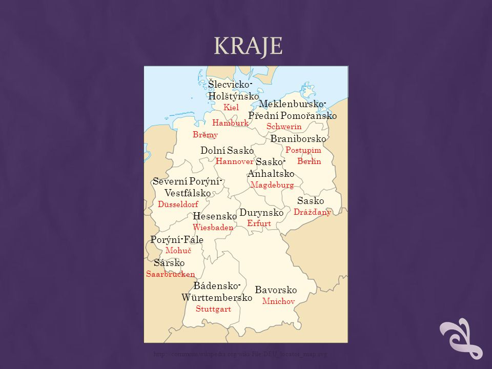 KRAJE Bavorsko Sasko Braniborsko Dolní Sasko Durynsko Sársko http://commons.wikipedia.org/wiki/File:DEU_locator_map.svg Šlecvicko- Holštýnsko Hesensko