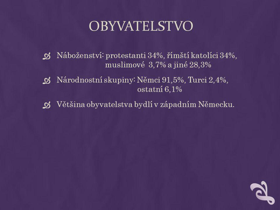 OBYVATELSTVO  Náboženství: protestanti 34%, římští katolíci 34%, muslimové 3,7% a jiné 28,3%  Národnostní skupiny: Němci 91,5%, Turci 2,4%, ostatní