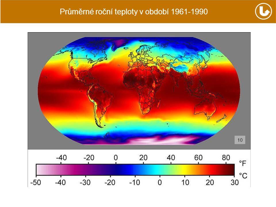 Průměrné roční teploty v období 1961-1990 10