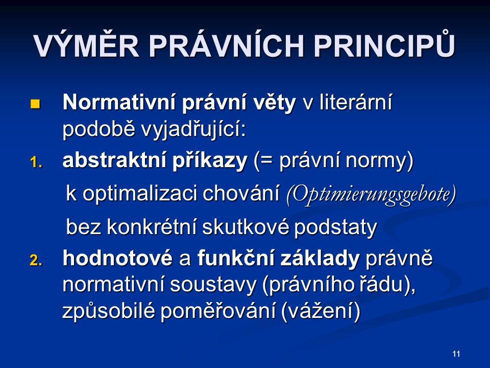 11 VÝMĚR PRÁVNÍCH PRINCIPŮ Normativní právní věty v literární podobě vyjadřující: Normativní právní věty v literární podobě vyjadřující: 1.