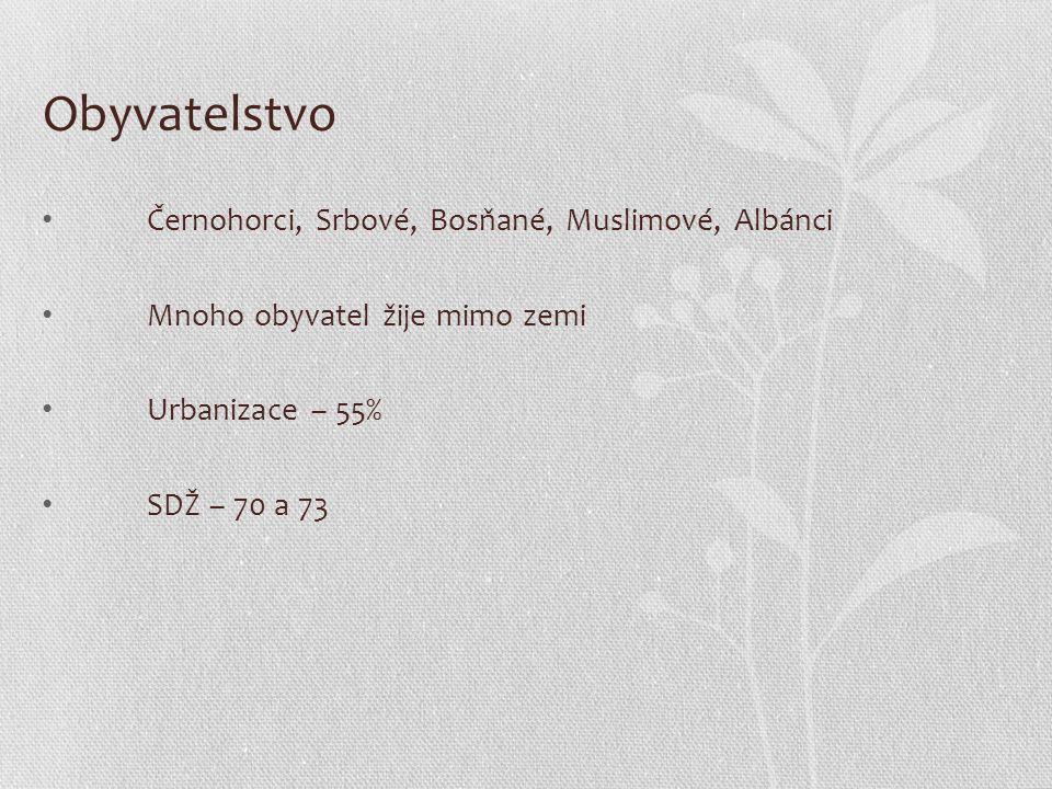 Obyvatelstvo Černohorci, Srbové, Bosňané, Muslimové, Albánci Mnoho obyvatel žije mimo zemi Urbanizace – 55% SDŽ – 70 a 73