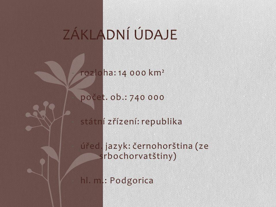 -rozloha: 14 000 km² -počet. ob.: 740 000 -státní zřízení: republika -úřed. jazyk: černohorština (ze srbochorvatštiny) -hl. m.: Podgorica ZÁKLADNÍ ÚDA