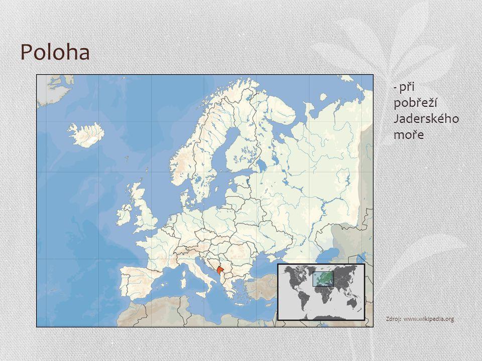 Poloha Zdroj: www.wikipedia.org - při pobřeží Jaderského moře