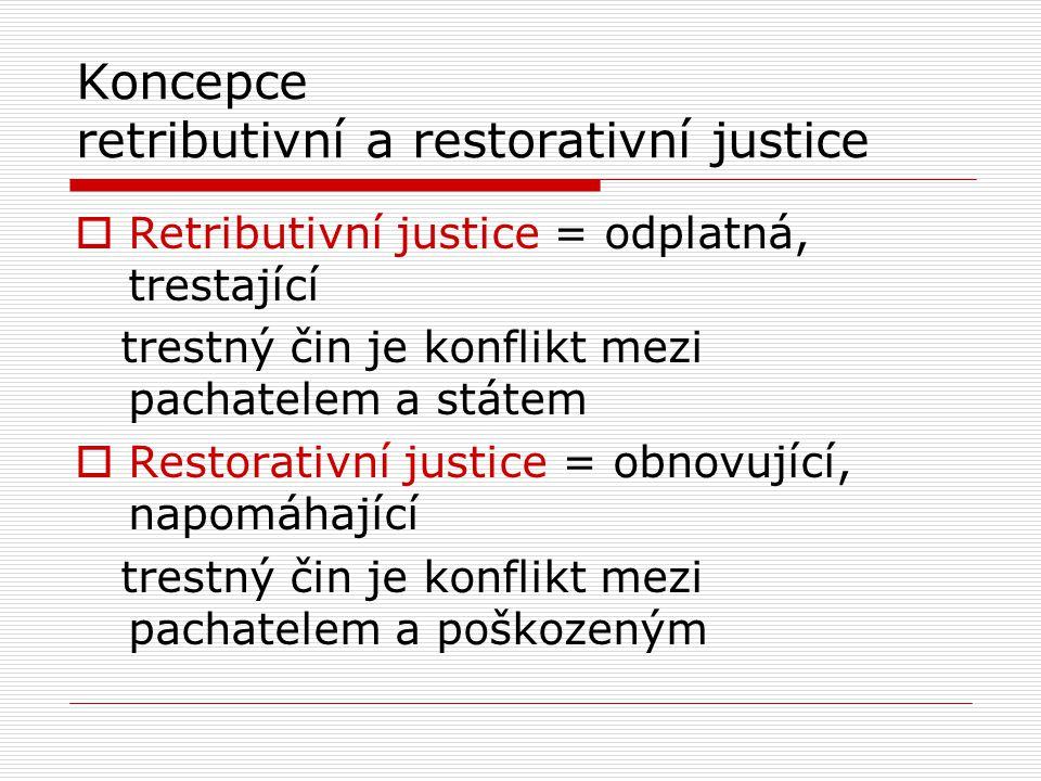 Koncepce retributivní a restorativní justice  Retributivní justice = odplatná, trestající trestný čin je konflikt mezi pachatelem a státem  Restorativní justice = obnovující, napomáhající trestný čin je konflikt mezi pachatelem a poškozeným