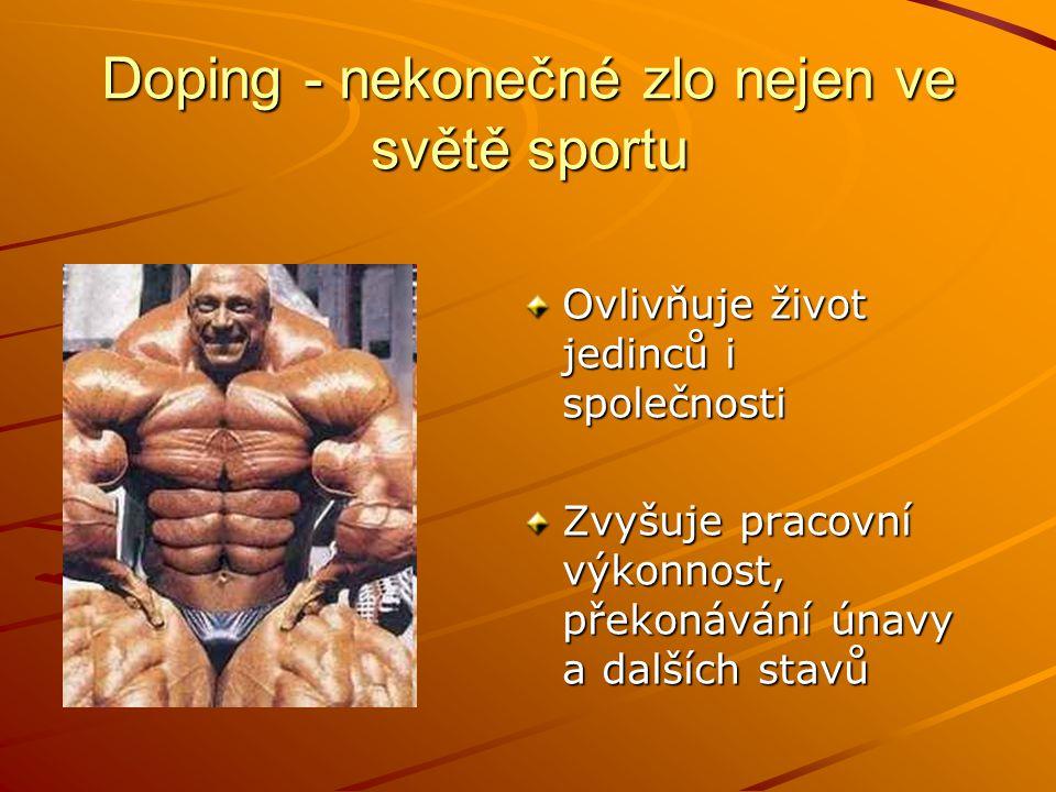 Doping - nekonečné zlo nejen ve světě sportu Ovlivňuje život jedinců i společnosti Zvyšuje pracovní výkonnost, překonávání únavy a dalších stavů