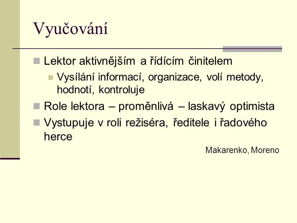 Vyučování Lektor aktivnějším a řídícím činitelem Vysílání informací, organizace, volí metody, hodnotí, kontroluje Role lektora – proměnlivá – laskavý