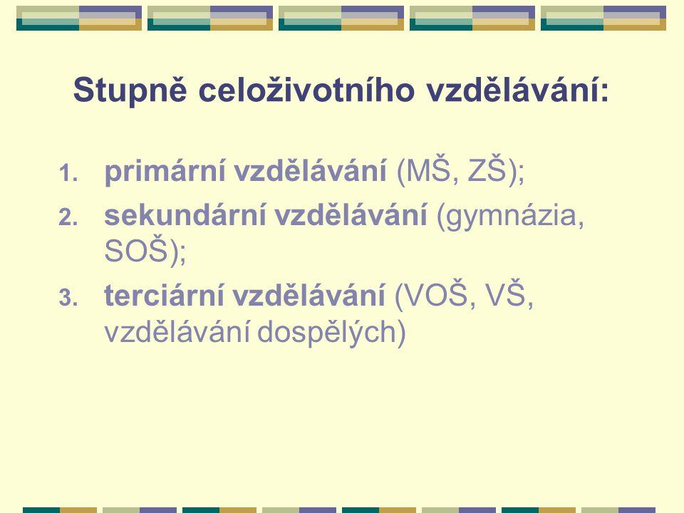 Stupně celoživotního vzdělávání: 1. primární vzdělávání (MŠ, ZŠ); 2. sekundární vzdělávání (gymnázia, SOŠ); 3. terciární vzdělávání (VOŠ, VŠ, vzdělává