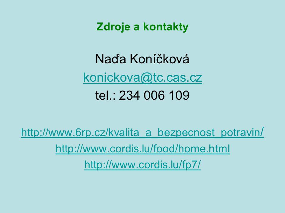 Zdroje a kontakty Naďa Koníčková konickova@tc.cas.cz tel.: 234 006 109 http://www.6rp.cz/kvalita_a_bezpecnost_potravin / http://www.cordis.lu/food/home.html http://www.cordis.lu/fp7/