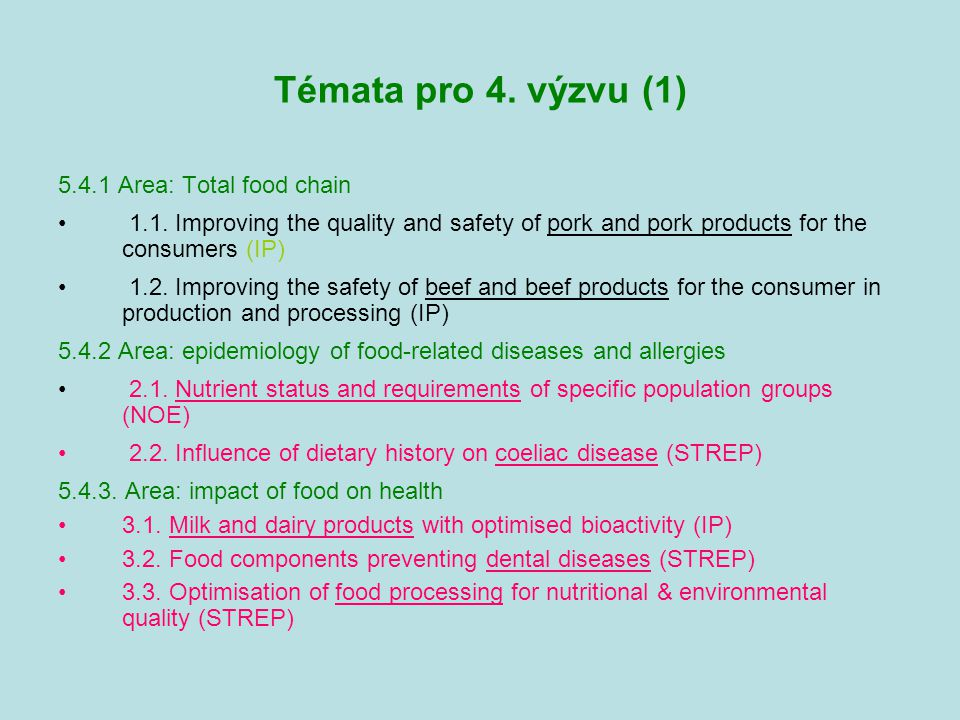 Témata pro 4.výzvu (2) 5.4.4 Area: Traceability process along the production chain 4.1.