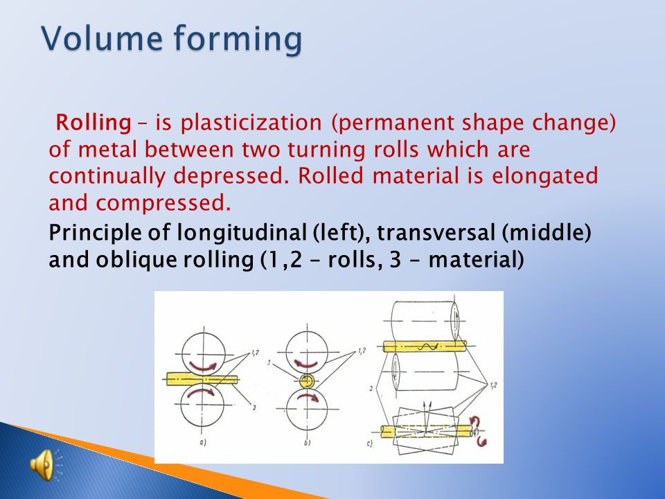 Rolling – is plasticization (permanent shape change) of metal between two turning rolls which are continually depressed.