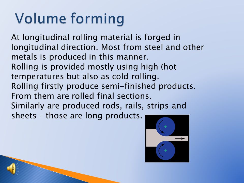 At longitudinal rolling material is forged in longitudinal direction.
