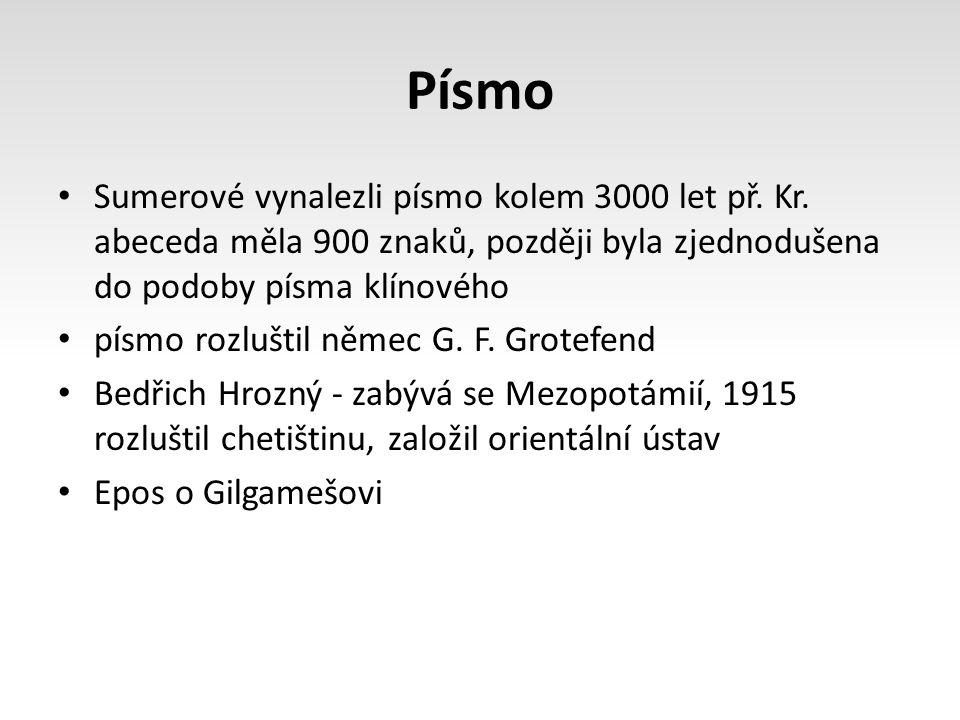 Písmo Sumerové vynalezli písmo kolem 3000 let př.Kr.