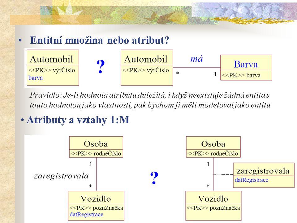 Entitní množina nebo atribut? Pravidlo: Je-li hodnota atributu důležitá, i když neexistuje žádná entita s touto hodnotou jako vlastností, pak bychom j