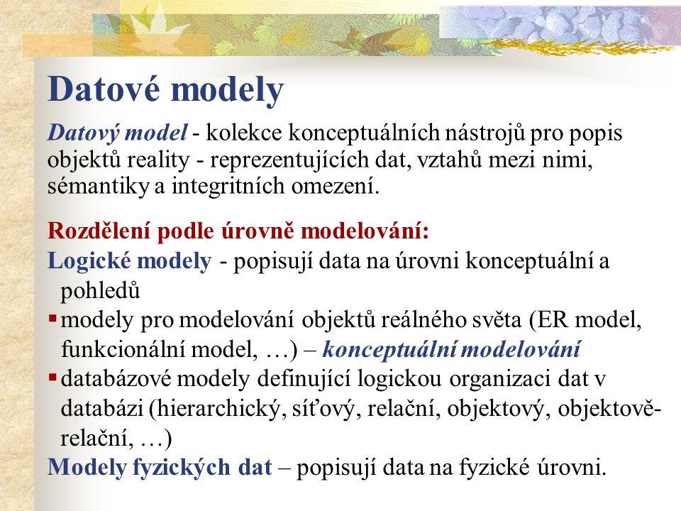 Datový model - kolekce konceptuálních nástrojů pro popis objektů reality - reprezentujících dat, vztahů mezi nimi, sémantiky a integritních omezení. R