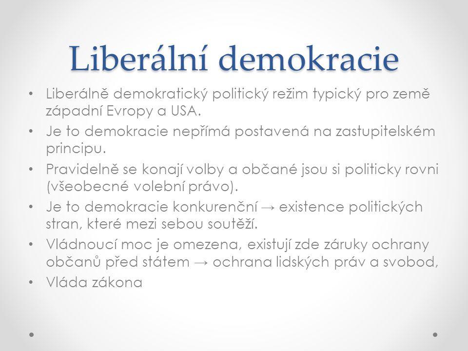 Liberální demokracie Liberálně demokratický politický režim typický pro země západní Evropy a USA. Je to demokracie nepřímá postavená na zastupitelské