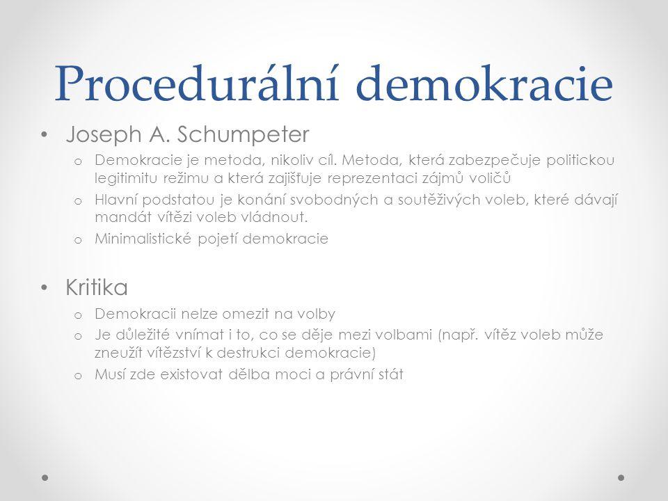 Procedurální demokracie Joseph A. Schumpeter o Demokracie je metoda, nikoliv cíl. Metoda, která zabezpečuje politickou legitimitu režimu a která zajiš
