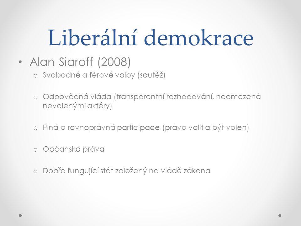 Liberální demokrace Alan Siaroff (2008) o Svobodné a férové volby (soutěž) o Odpovědná vláda (transparentní rozhodování, neomezená nevolenými aktéry)