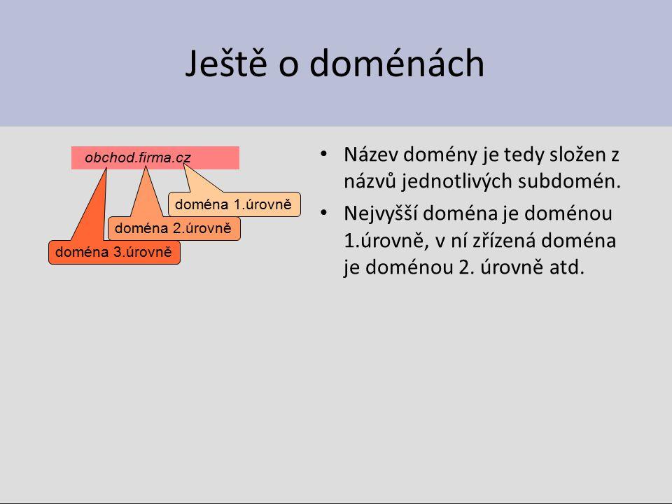 Ještě o doménách Název domény je tedy složen z názvů jednotlivých subdomén. Nejvyšší doména je doménou 1.úrovně, v ní zřízená doména je doménou 2. úro