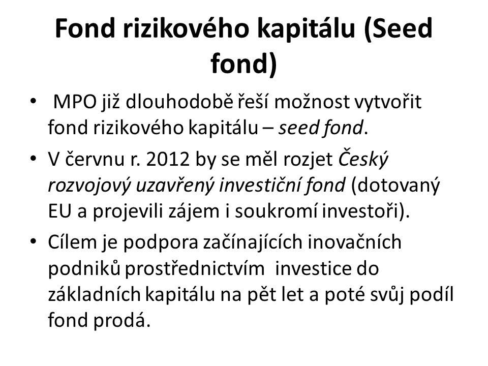 Fond rizikového kapitálu (Seed fond) MPO již dlouhodobě řeší možnost vytvořit fond rizikového kapitálu – seed fond. V červnu r. 2012 by se měl rozjet