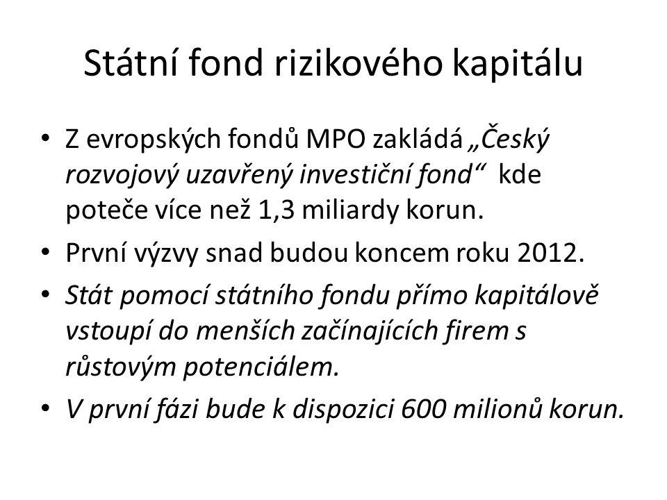 """Státní fond rizikového kapitálu Z evropských fondů MPO zakládá """"Český rozvojový uzavřený investiční fond"""" kde poteče více než 1,3 miliardy korun. Prvn"""