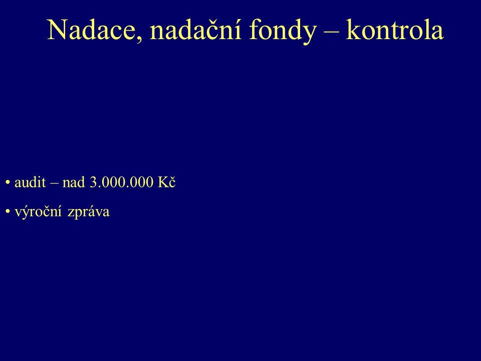 Nadace, nadační fondy – kontrola audit – nad 3.000.000 Kč výroční zpráva