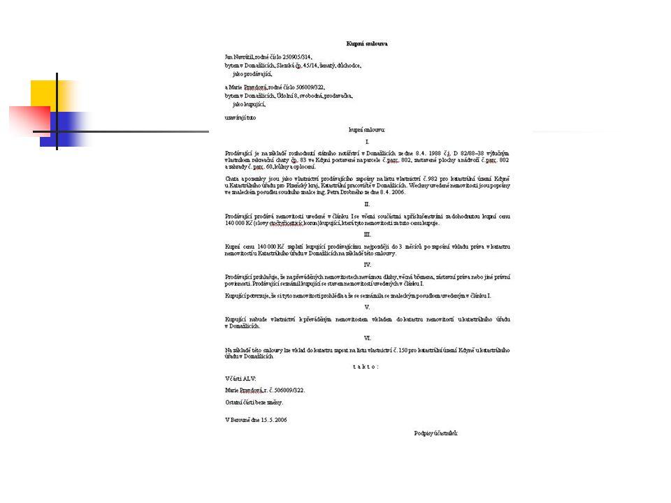 Kupní smlouva v praxi Strany smlouvy Určení předmětu koupě Ujednání o kupní ceně Ostatní ujednání smluvních stran Datum uzavření smlouvy, podpisy smluvních stran