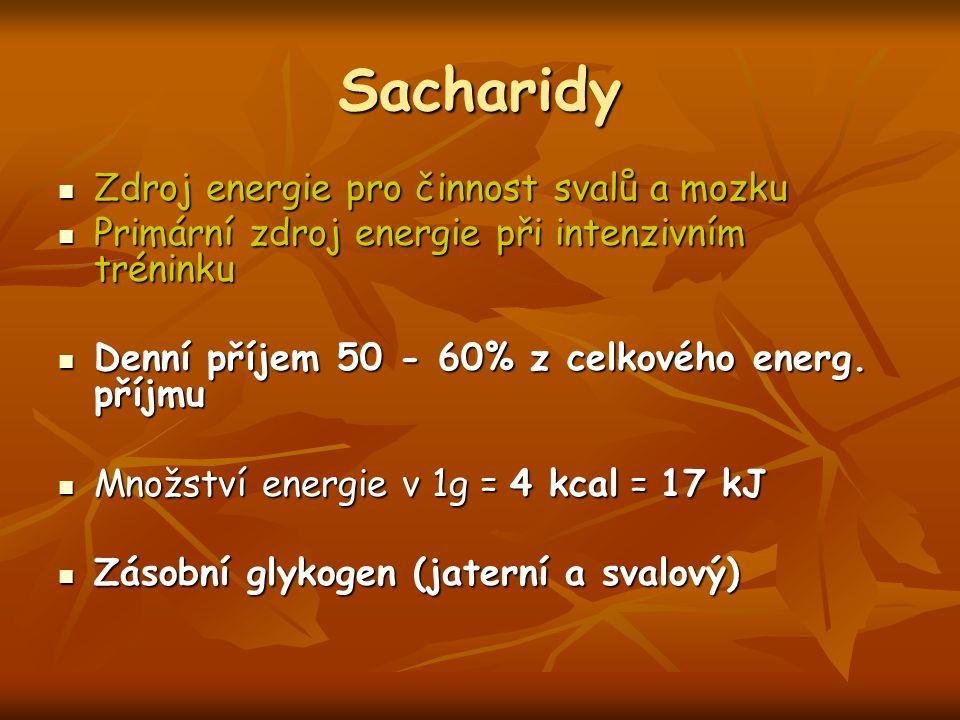 Sacharidy Zdroj energie pro činnost svalů a mozku Zdroj energie pro činnost svalů a mozku Primární zdroj energie při intenzivním tréninku Primární zdroj energie při intenzivním tréninku Denní příjem 50 - 60% z celkového energ.