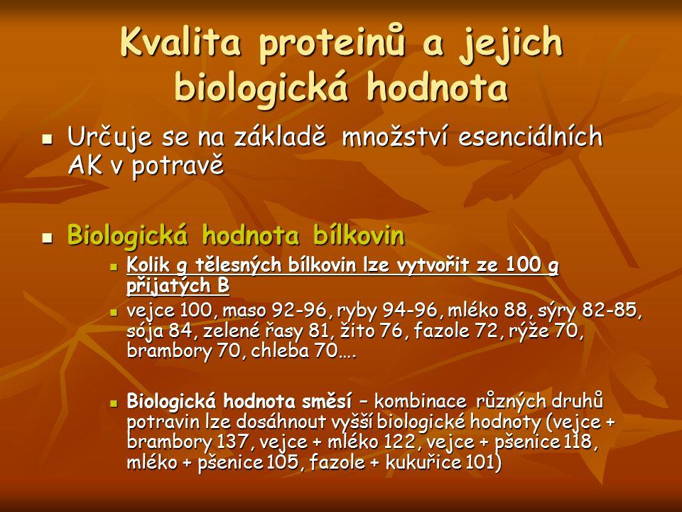Kvalita proteinů a jejich biologická hodnota Určuje se na základě množství esenciálních AK v potravě Určuje se na základě množství esenciálních AK v p