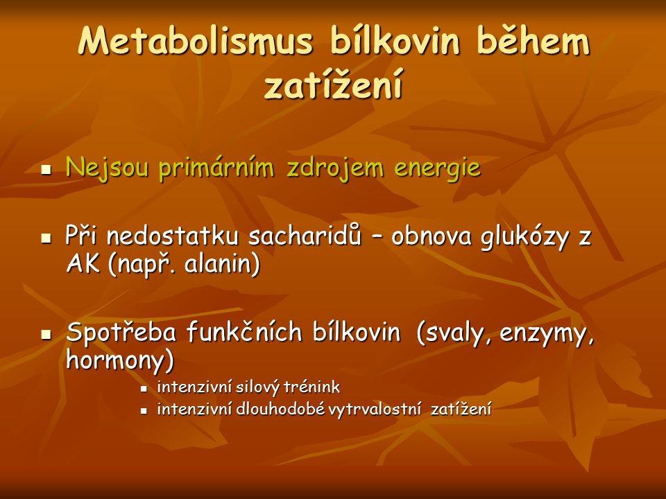 Metabolismus bílkovin během zatížení Nejsou primárním zdrojem energie Nejsou primárním zdrojem energie Při nedostatku sacharidů – obnova glukózy z AK (např.