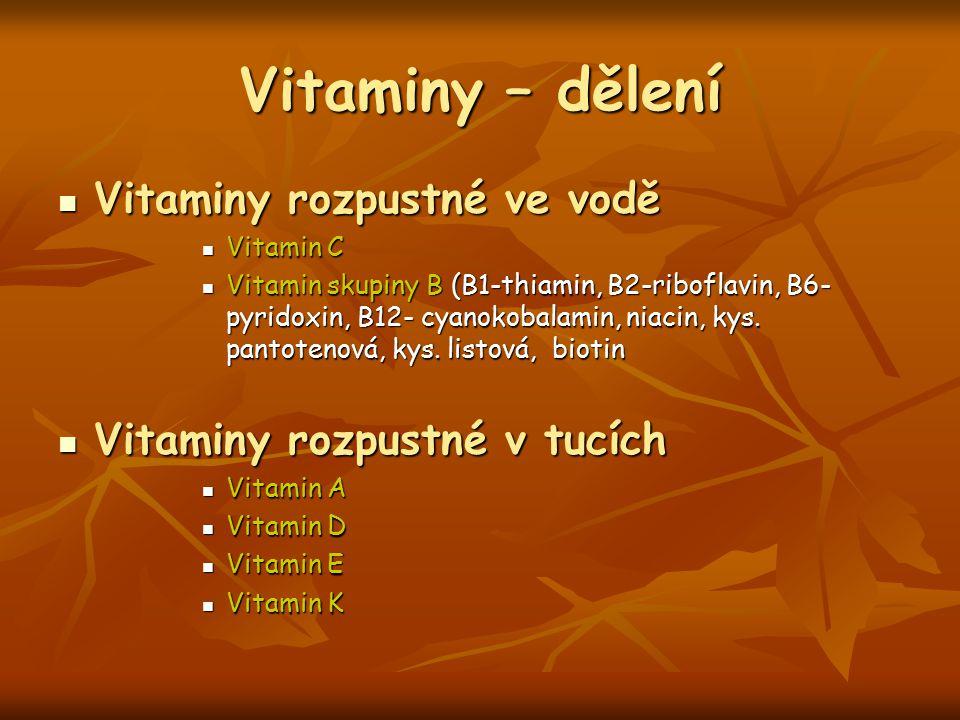 Vitaminy – dělení Vitaminy rozpustné ve vodě Vitaminy rozpustné ve vodě Vitamin C Vitamin C Vitamin skupiny B (B1-thiamin, B2-riboflavin, B6- pyridoxi