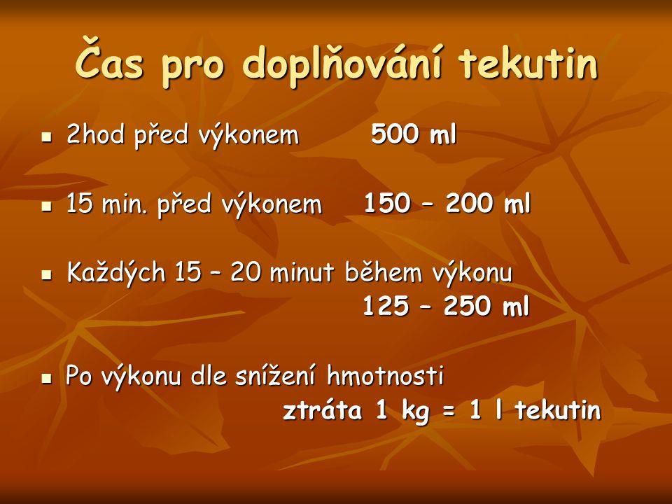 Čas pro doplňování tekutin 2hod před výkonem 500 ml 2hod před výkonem 500 ml 15 min. před výkonem 150 – 200 ml 15 min. před výkonem 150 – 200 ml Každý