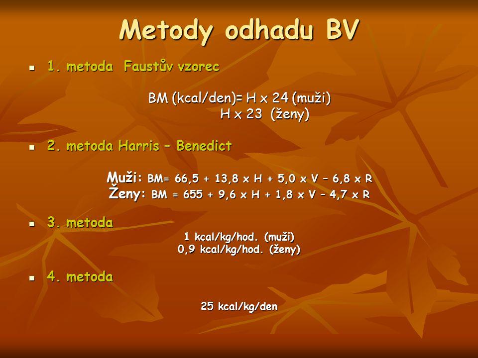 Metody odhadu BV 1. metoda Faustův vzorec 1. metoda Faustův vzorec BM (kcal/den)= H x 24 (muži) H x 23 (ženy) H x 23 (ženy) 2. metoda Harris – Benedic