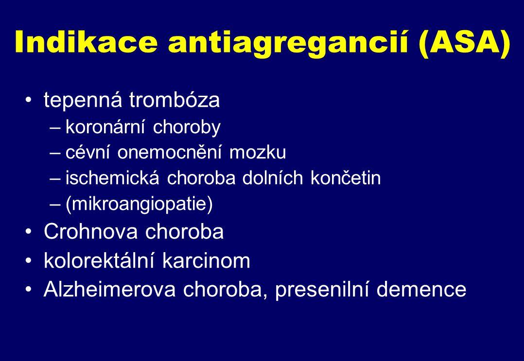 Indikace antiagregancií (ASA) tepenná trombóza –koronární choroby –cévní onemocnění mozku –ischemická choroba dolních končetin –(mikroangiopatie) Crohnova choroba kolorektální karcinom Alzheimerova choroba, presenilní demence