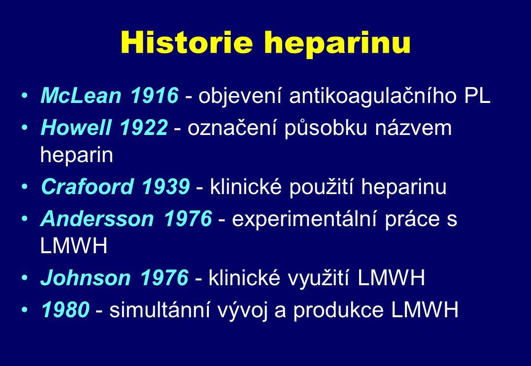 Historie heparinu McLean 1916 - objevení antikoagulačního PL Howell 1922 - označení působku názvem heparin Crafoord 1939 - klinické použití heparinu Andersson 1976 - experimentální práce s LMWH Johnson 1976 - klinické využití LMWH 1980 - simultánní vývoj a produkce LMWH